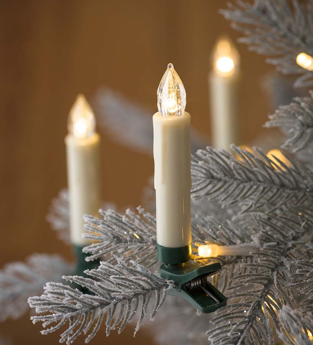Clip On Christmas Tree Candle Lights Set Of 10 Holiday Lighting  - Christmas Tree Shaped Lights