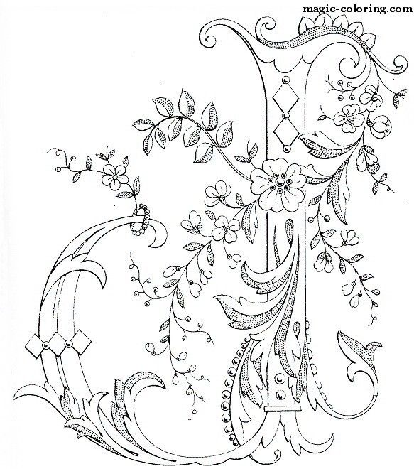 MAGIC-COLORING | Flowered Monograms (3) | Monograma | Pinterest ...