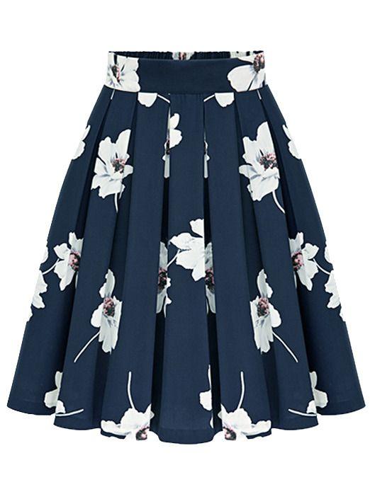 falda flores gasa plisada-marino 16.74  2ec202fa496b