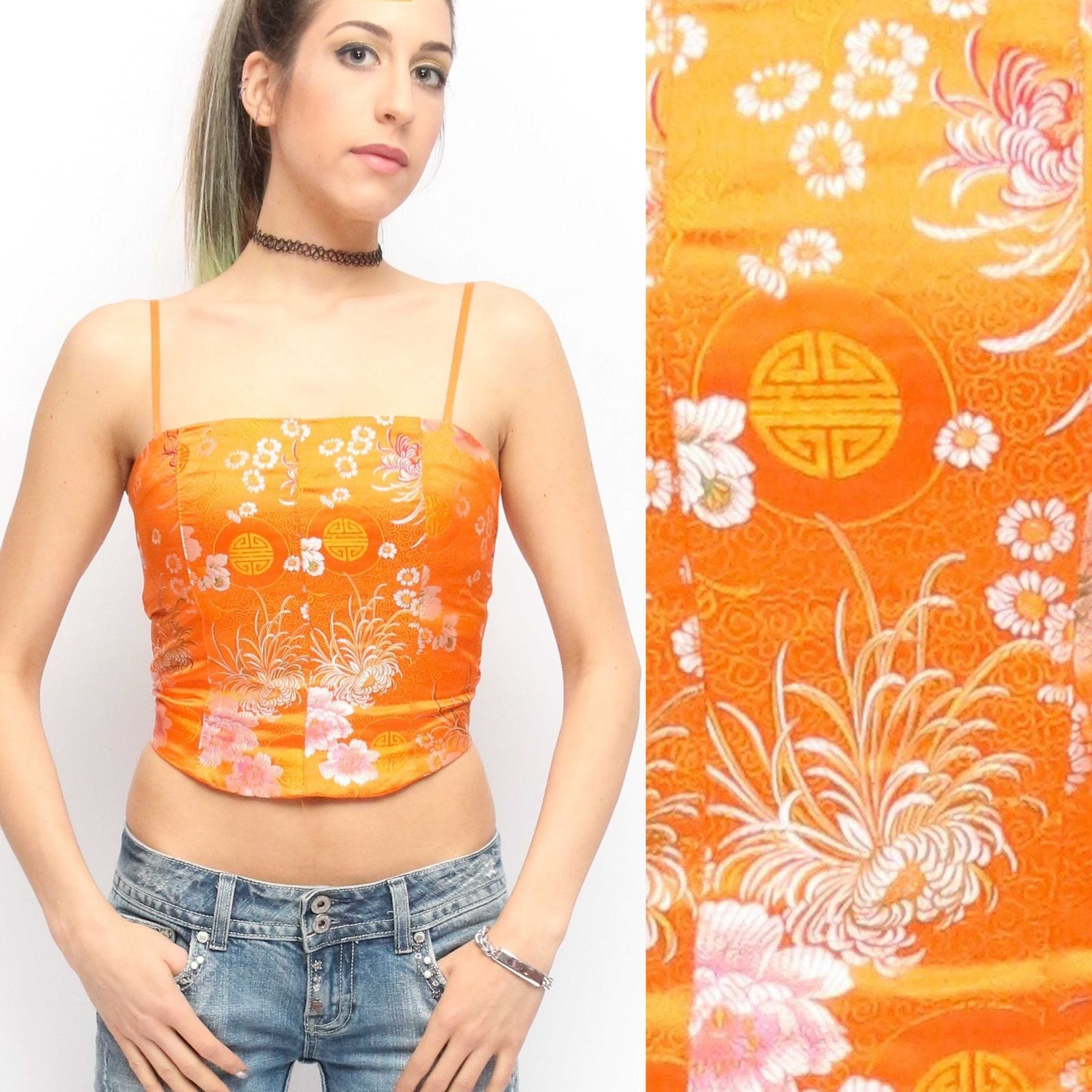 a0c23835522 Vintage 90 s Orange Pink Satin Asian Floral Print Crop Top Bustier Tank