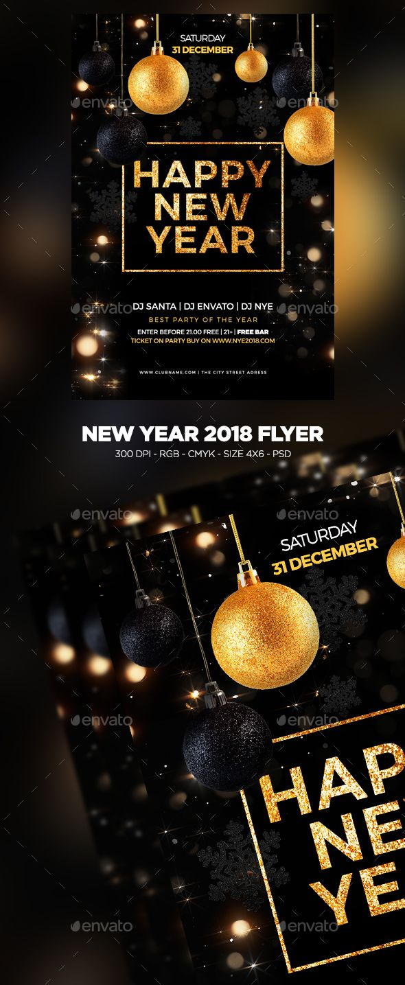 new year 2018 flyer club parties event flyers and flyer template
