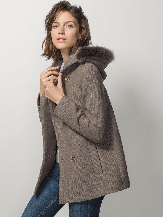 Manteau court femme hiver capuche fourrure