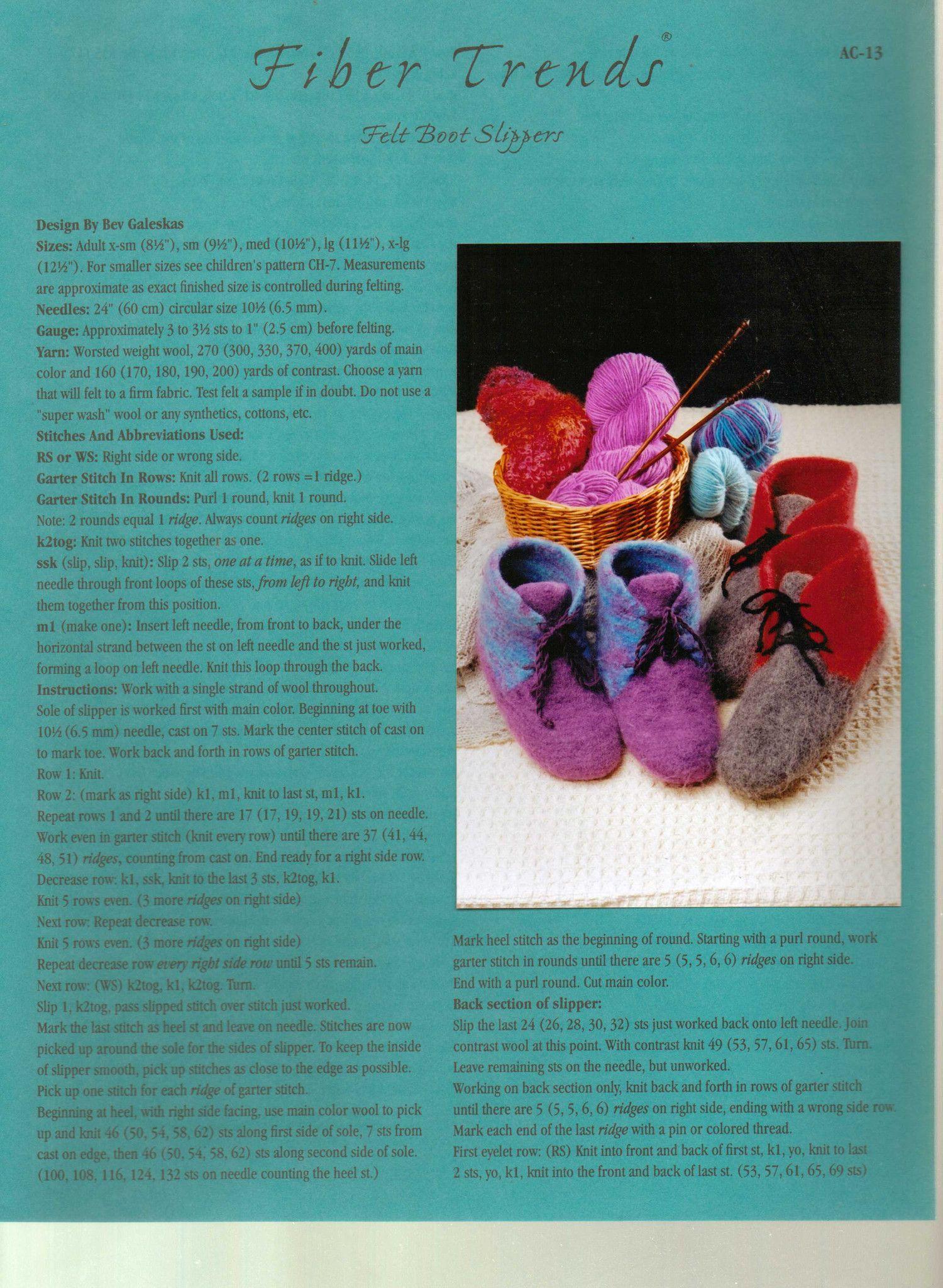 Fiber trends knitting pattern felt boot slippers knitting patterns fiber trends knitting pattern felt boot slippers dt1010fo