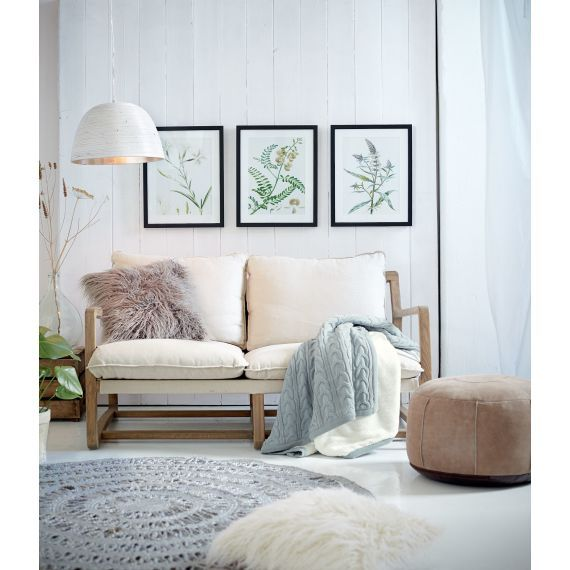 Sofa Skandinavisch Eichenholz Leinen Katalogbild