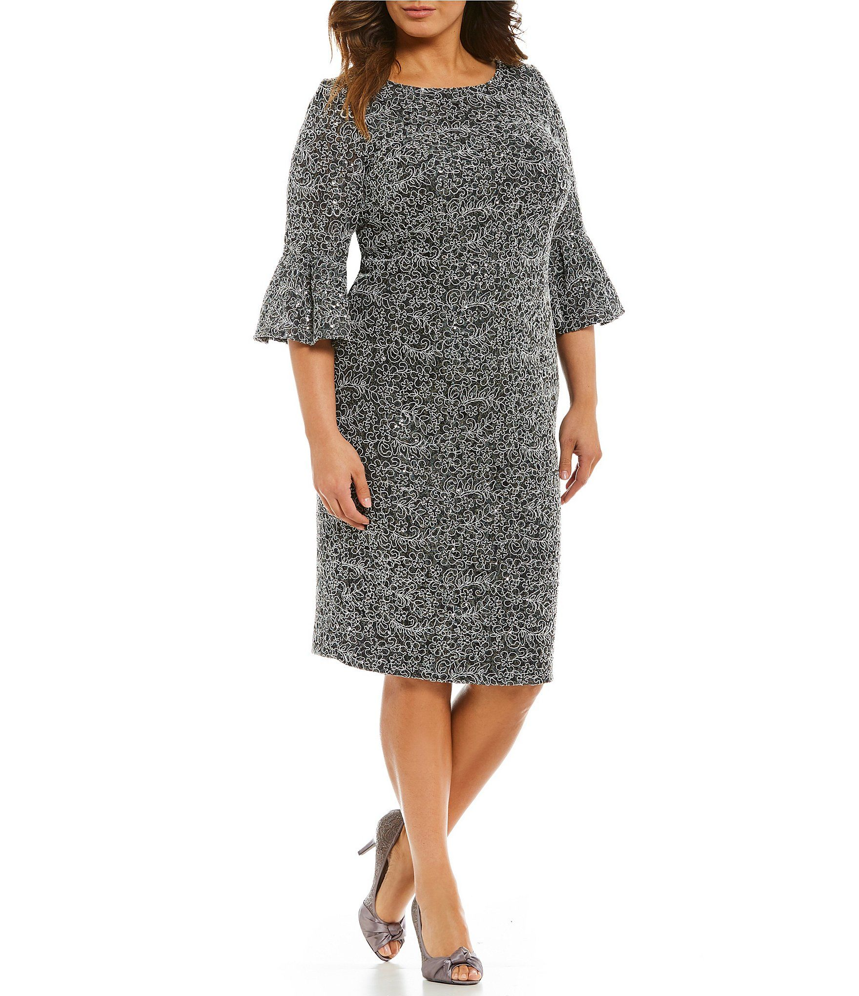 b1b3cd07d74 Alex Evenings Plus Corded Lace Bell Sleeve Dress  Dillards