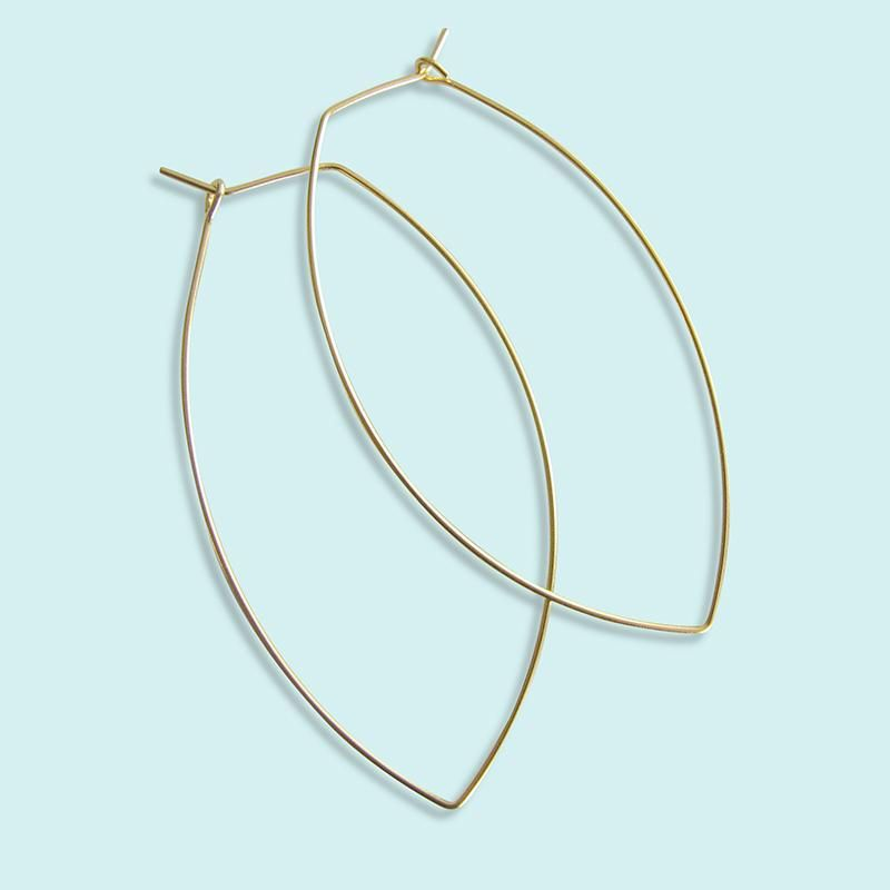 Photo of Pointed Oval Hoop Earrings – No gift box necessary