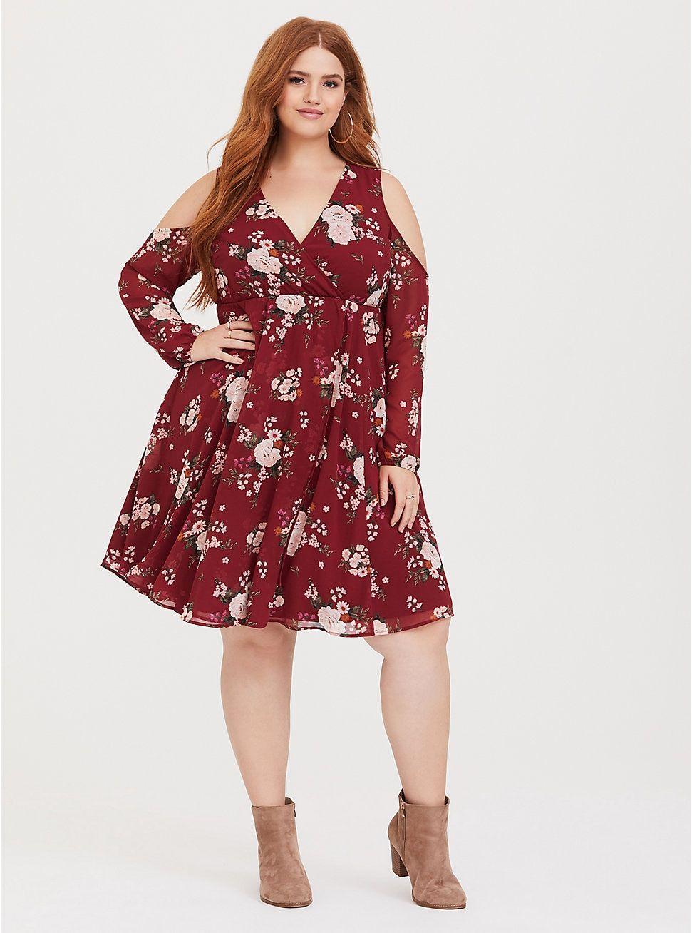 Red Floral Cold Shoulder Chiffon Wrap Dress Plus Size Wedding Guest Dresses Chiffon Wrap Chiffon Wrap Dress [ 1308 x 971 Pixel ]