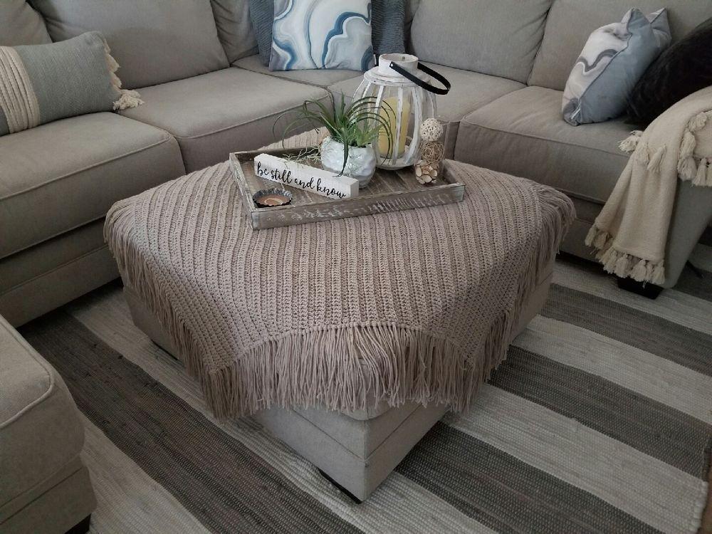 Hand Made Crochet Ottoman Topper Sandpebble Gray Home Garden