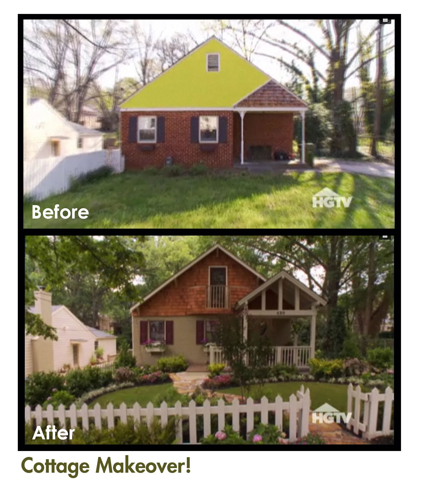 Hgtv Curb Appeal Amazing Cottage Make Over Small House Remodel Porch Remodel Ranch Remodel