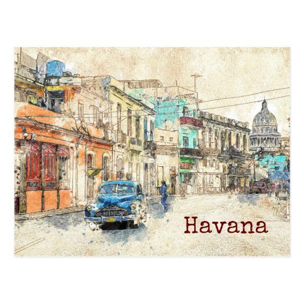 Cuba Havana travel sketch Postcard   Zazzle.com