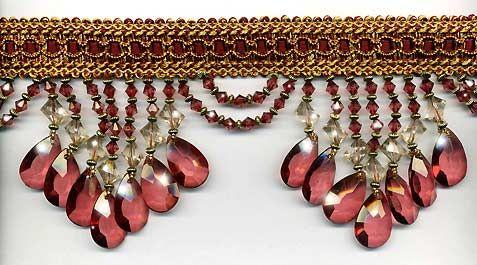 """3/"""" Exquisite Tassel Fringe Marble Bead Trim Burgundy Per yard"""
