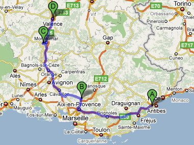 pertuis france Map from Le Cannet to Pertuis to Le Teil to Valence