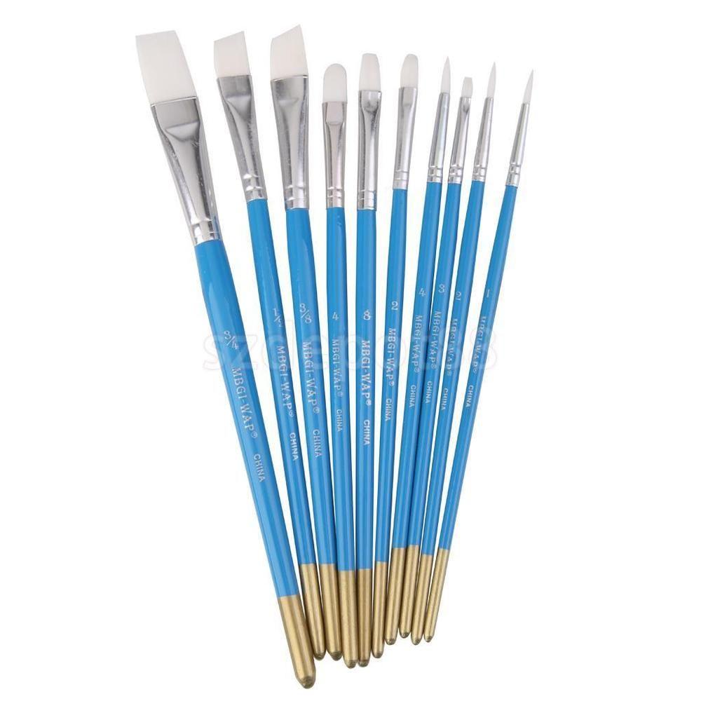 10 Artist White Tip Paint Brush Set For Artist Acrylic Oil