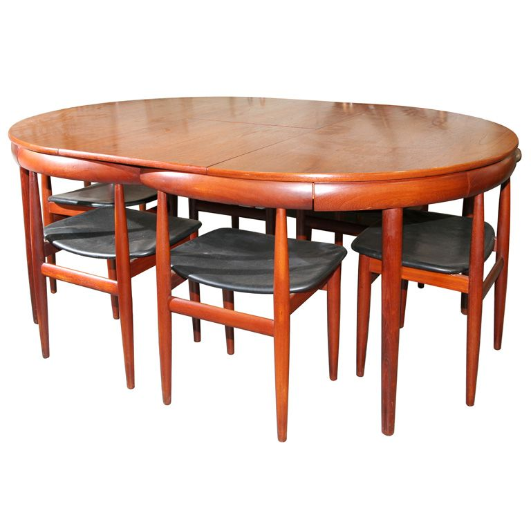 Teak Dining Table With Nested Chairs By Hans Olsen Teak Dining