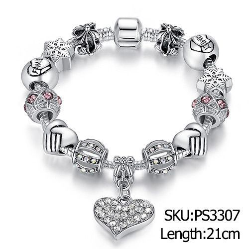 Luxury Brand Women Bracelet Unique Silver Crystal Charm Beads Bracelets  Bangles