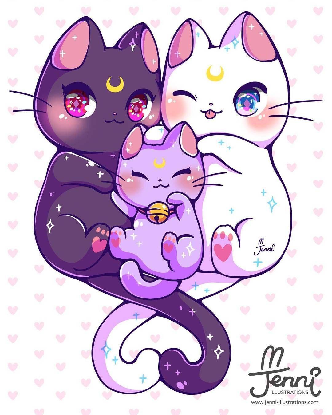 Luna Artemis Diana Sailormoon Luna Artemis Chibi Jenniilustrations Jennilustrat Sailor Moon Cat Sailor Moon Art Cute Kawaii Drawings