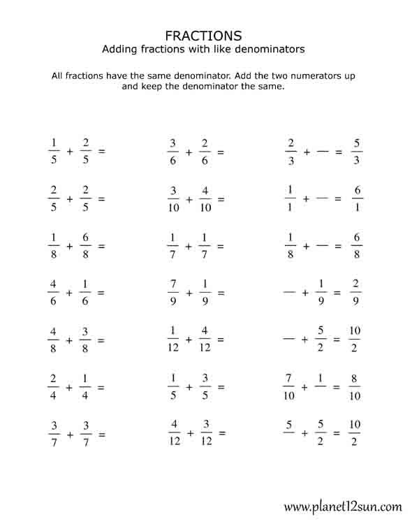 4th Grade Adding Fractions with the Same Denominator – Adding Fractions with the Same Denominator Worksheets
