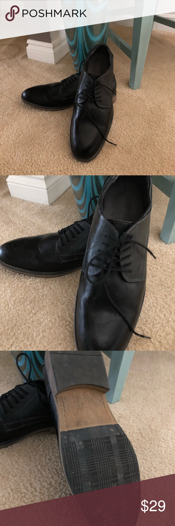 1aaa8e6e150f JcPenny black Dress shoes Men dress shoes worn 1X Black lace up jcpenney  Shoes Loafers   Slip-Ons