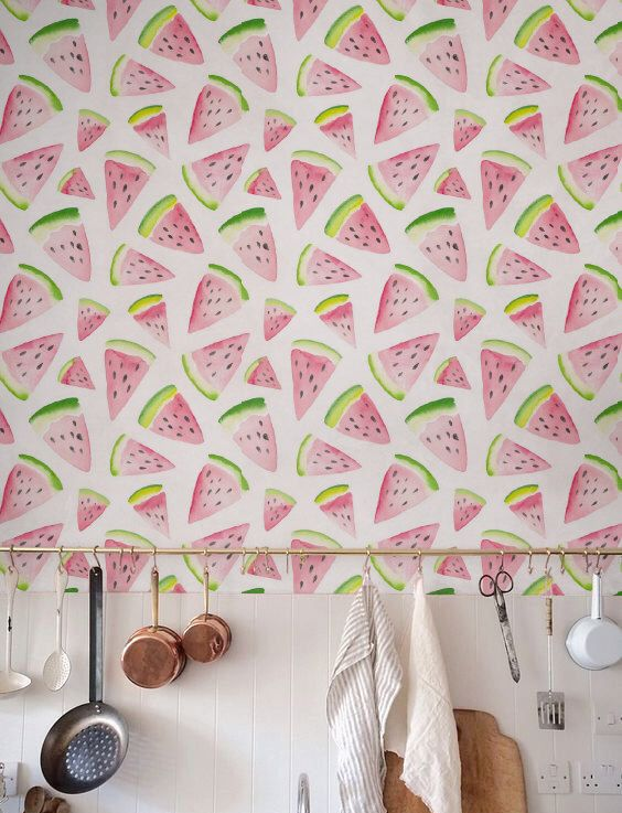 Watercolor Watermelon Wallpaper, Removable Wallpaper, Self