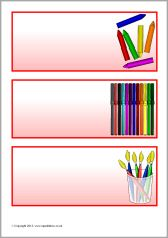 Editable red classroom resource labels (SB9440) - SparkleBox