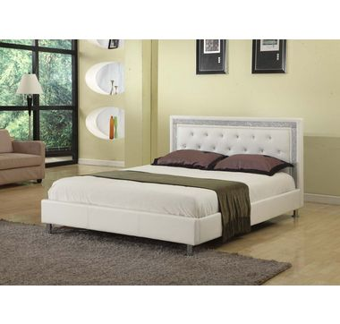 Candace & Basil Faux Leather Double Bed with Diamante Trim and Studs ...