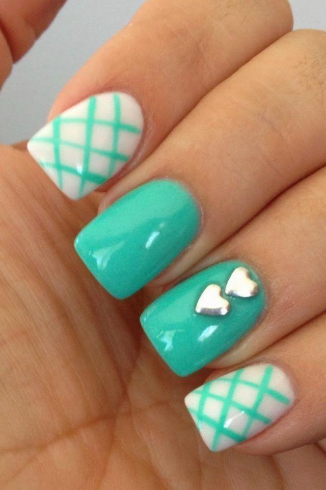 Uñas Verde Agua Y Blanco Uñas Pinterest Manicura Maquillaje Y