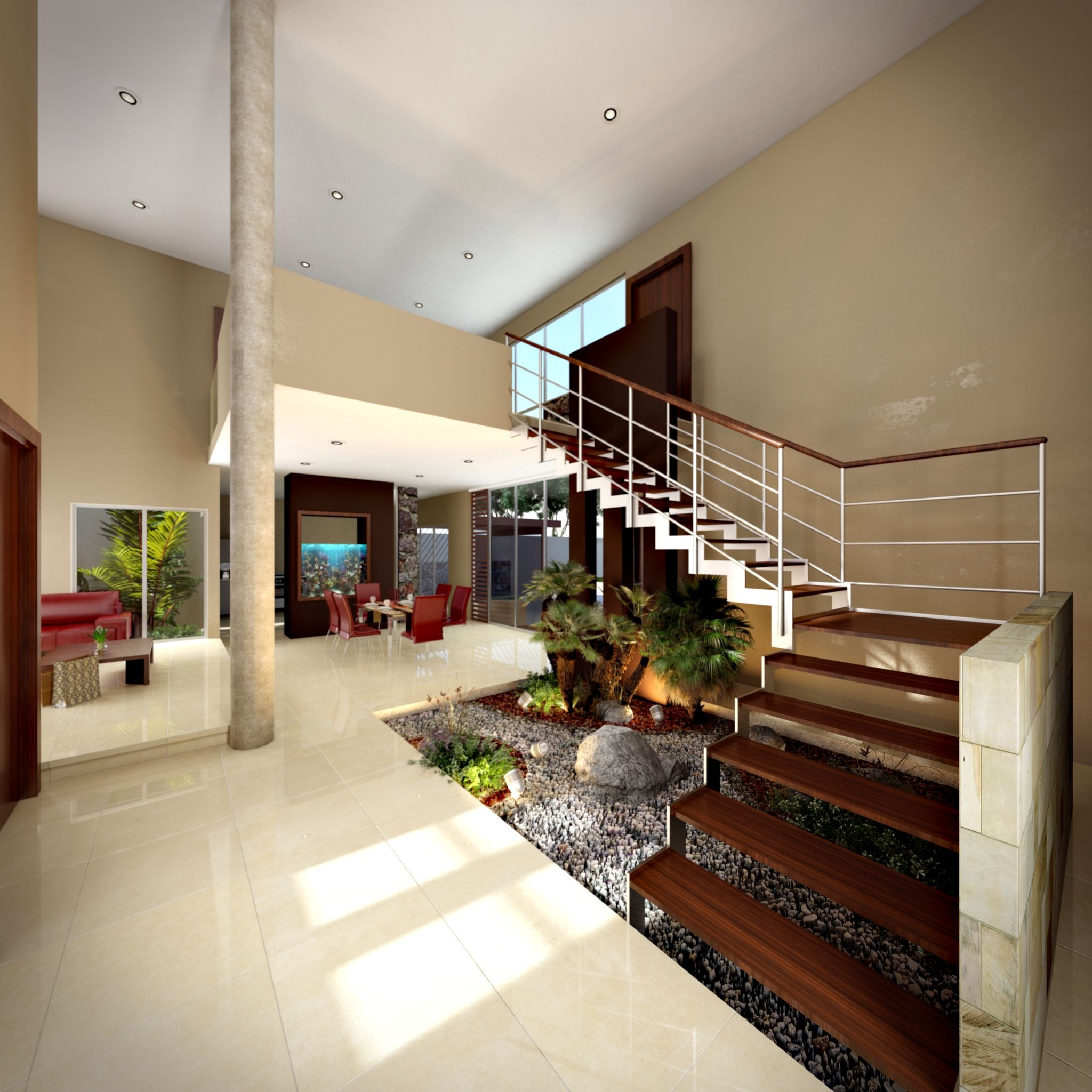 V stibulo a doble altura escaleras con pelda os de madera - Diseno de jardines interiores ...