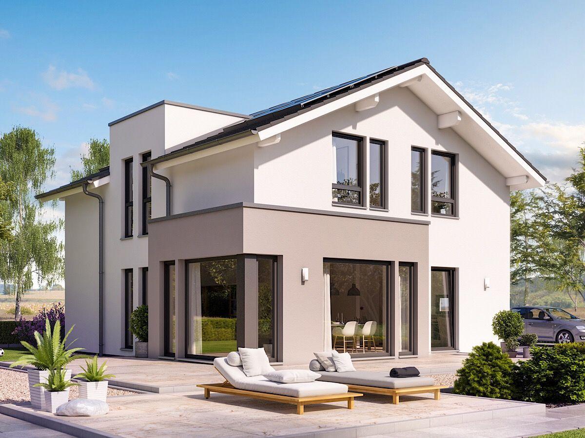 Modernes Haus Design mit flachem Satteldach, Zwerchgiebel