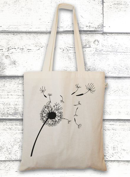 Jutebeutel mit Pusteblume // bag with a flower by GreenVision via dawanda.com #cactuswithflowers