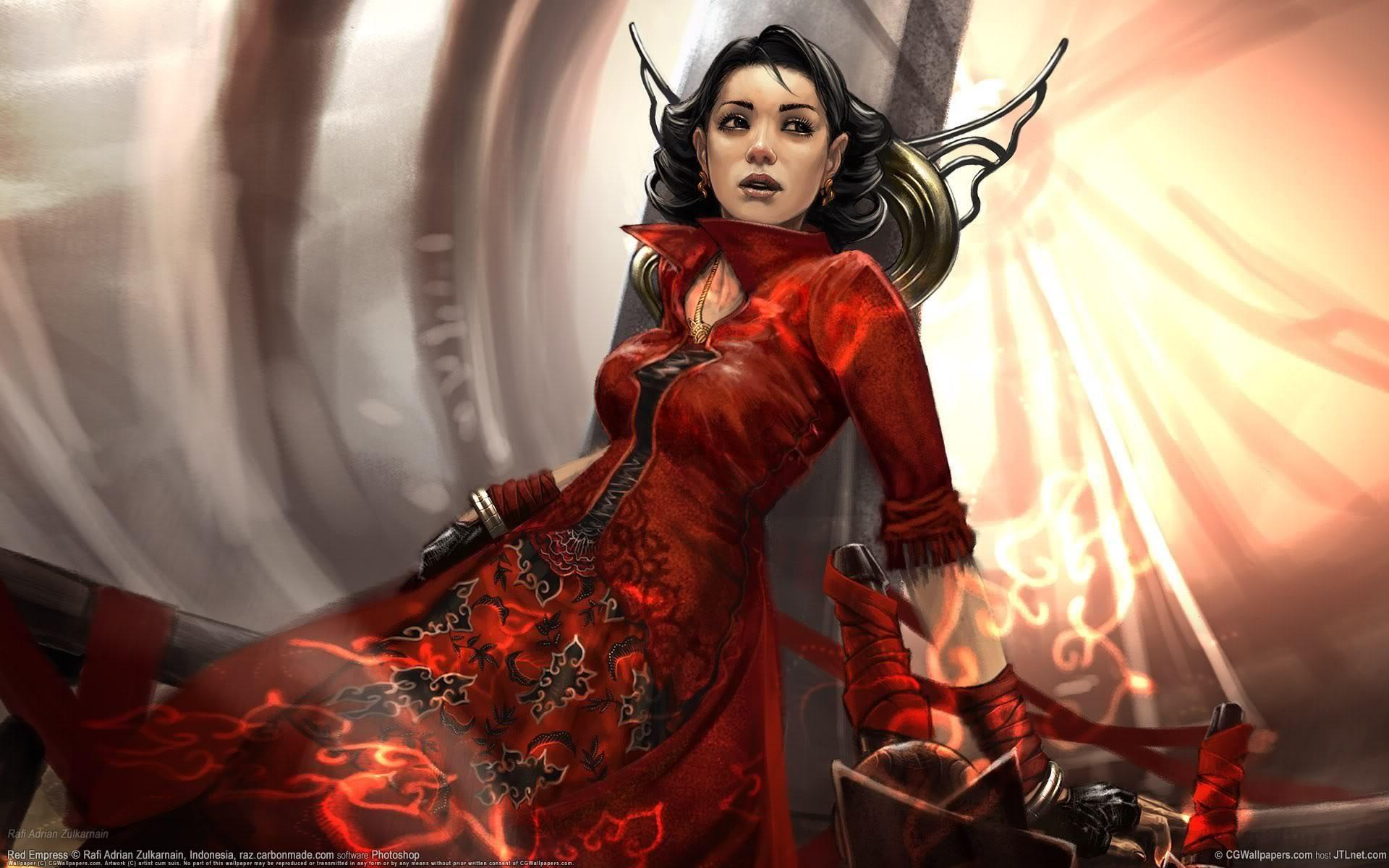 Red Empress Fantasy Girl Scifi Fantasy Art Fantasy Drawings