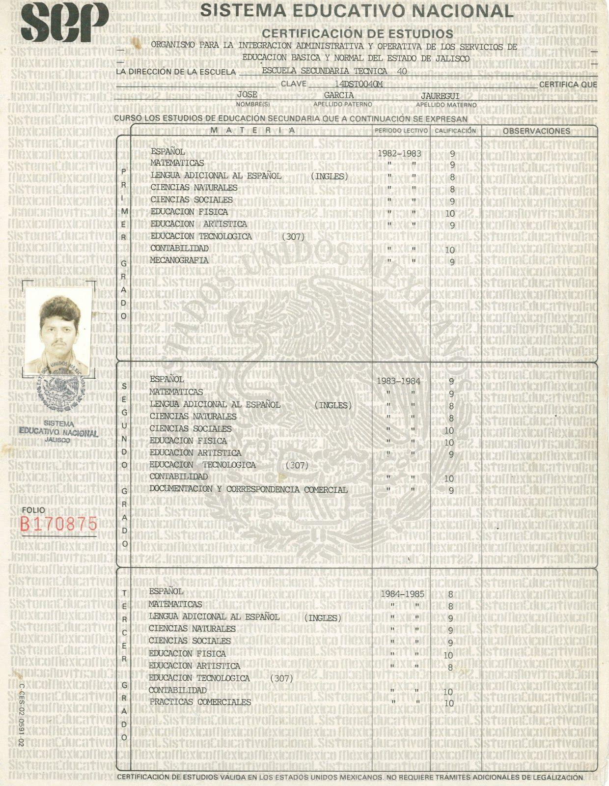 Curriculum Vitae: Jose Garcia Jauregui.: CERTIFICADO DE SECUNDARIA ...