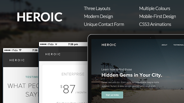 Heroic - Creative + Modern One Page HTML Template | Responsive ...