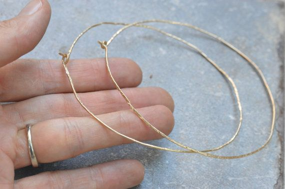 Hammered Gold Hoop Earrings Giant By Timberandchain