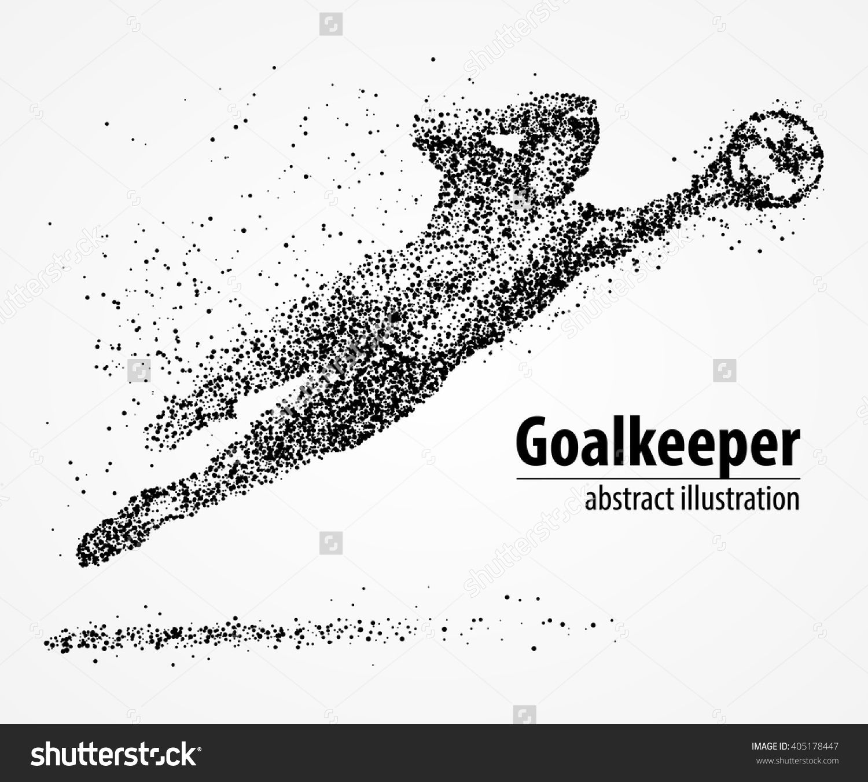 Abstract Football Goalkeeper Jumping In Black Circles