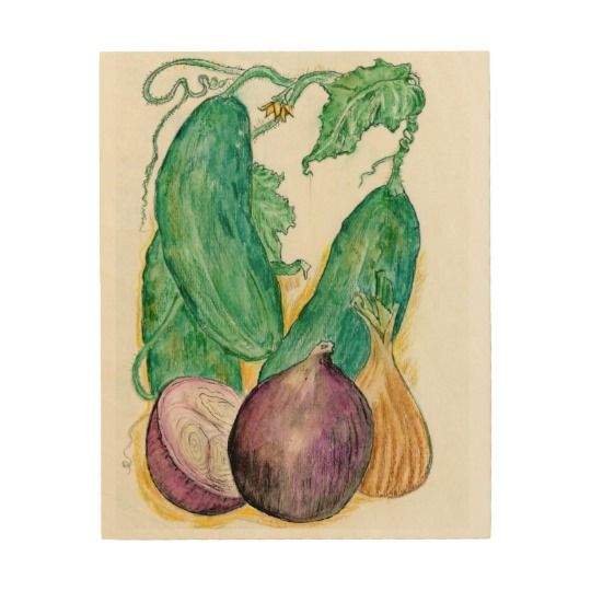 Onions and Cukes on Wood Art