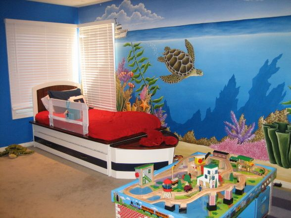 exciting ocean themed bedroom | Ocean theme bedroom 2, Okay I went crazy and made a new ...