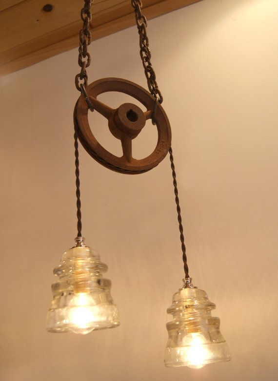 Industrial Chic Vintage Insulator Pulley Wheel Hanging Light Funky Lighting Hanging Lights Industrial Chic Decor