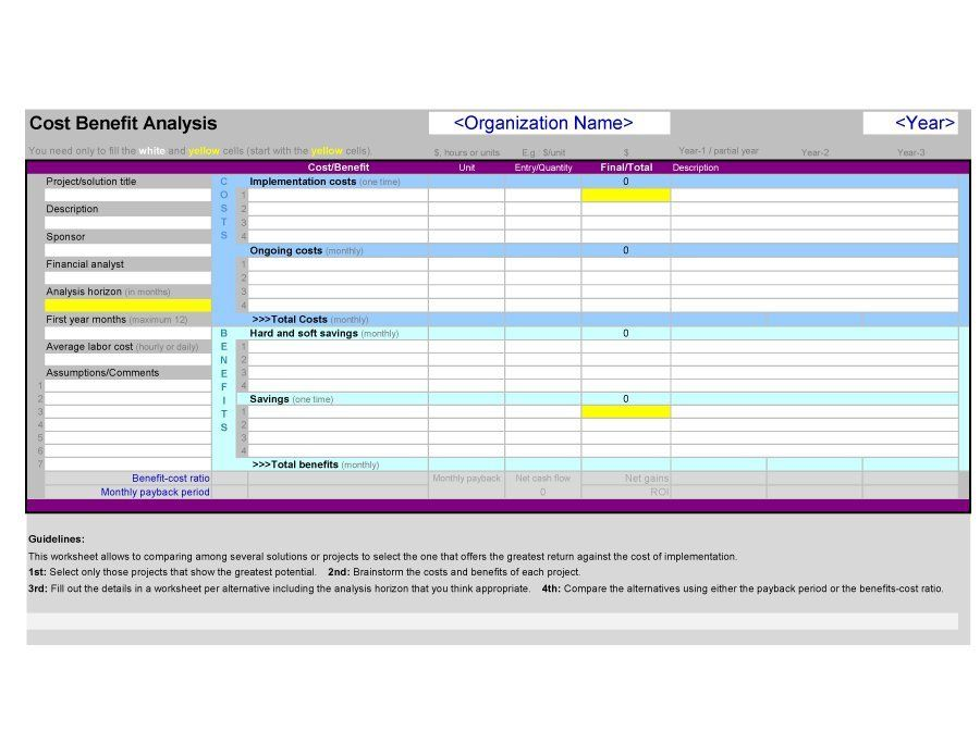 Cost Benefit Analysis Template Analysis Cost Accounting Benefit