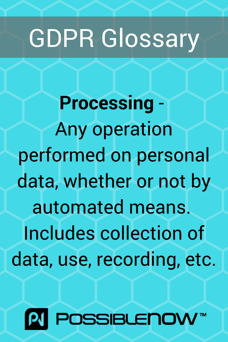 In Today S Gdpr Glossary Processing Personaldata