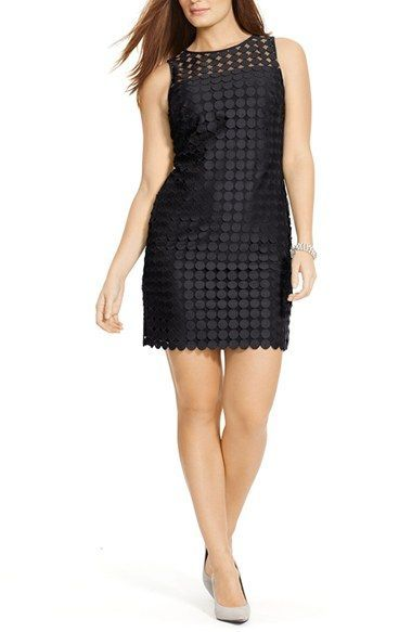 Lauren Ralph Lauren Sleeveless Circle Lace Sheath Dress Plus Size
