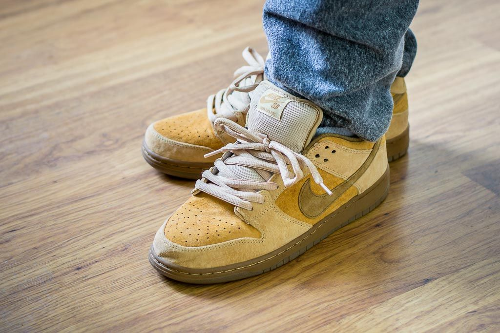 newest 39462 53bdc See how the Nike Dunk Low SB Reverse Wheat looks on feet in this video  review before you buy. Find out where you can buy these Nike Dunk Low SBs  online!