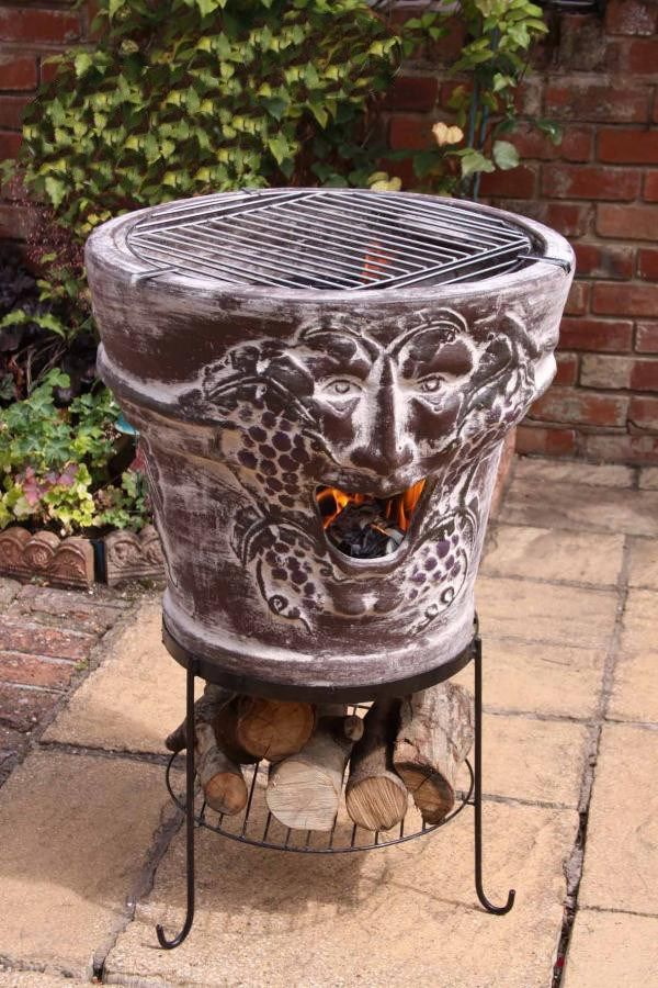 Huge Clay Fire Bowl with BBQ Grill in 2020   Clay fire pit ...