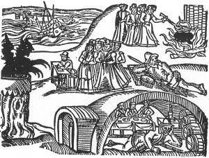 Contemporary woodcut from the pamphlet Newes from Scotland illustrating the North Berwick witch-hunts of 1590