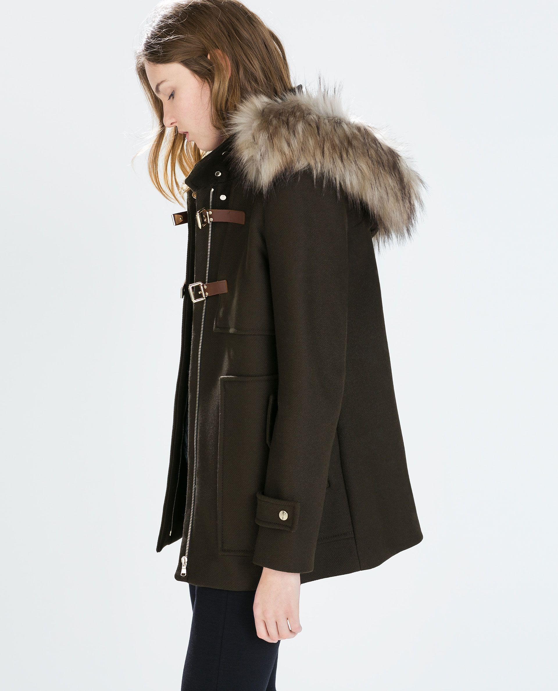 a18ecabea8e1 WOOL DUFFLE COAT WITH FUR HOOD - Woman - NEW THIS WEEK