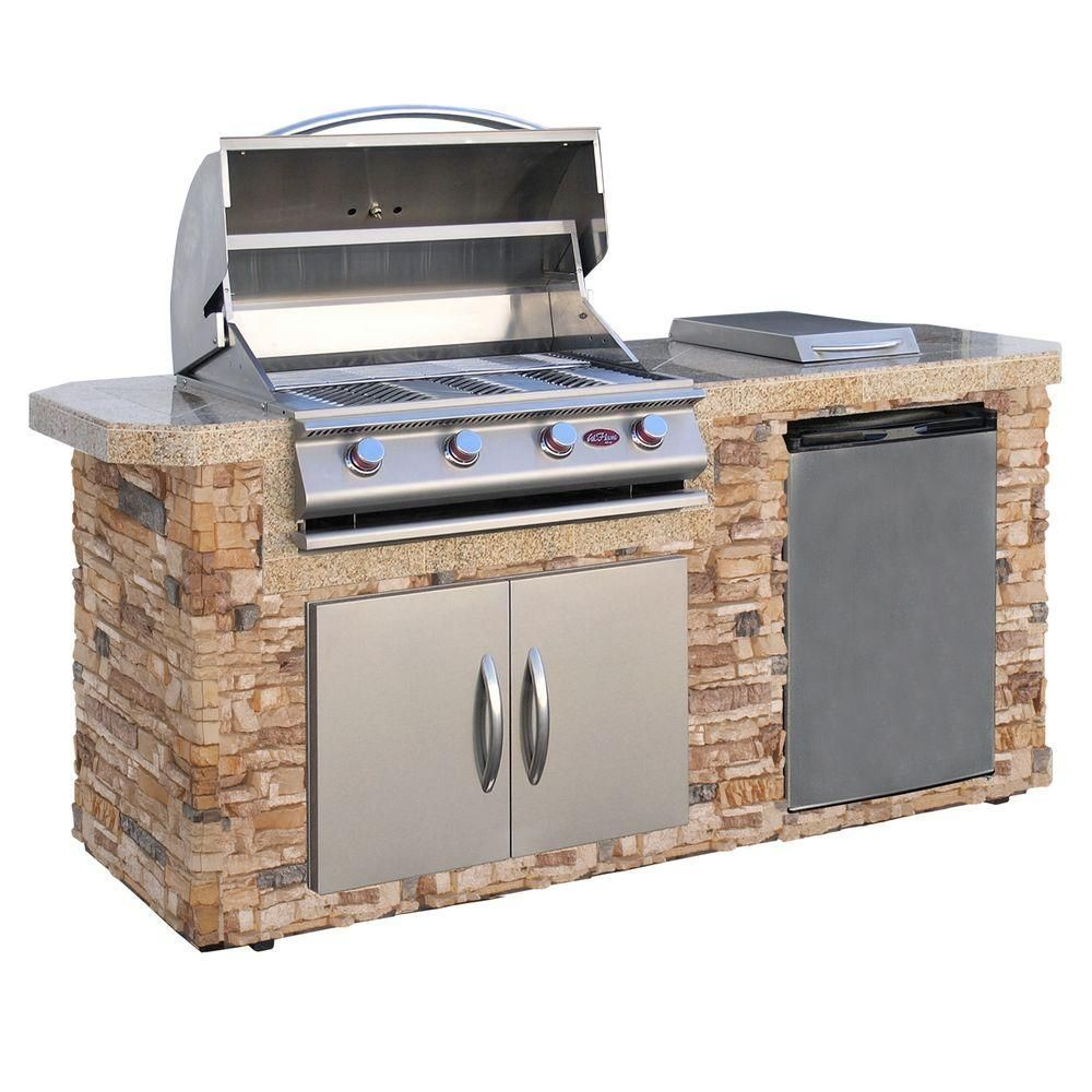 Cal Flame 4 Burner Stainless Steel Propane Grill Island With 27 In Access Door Bistro 404 The Home Depot In 2021 Outdoor Kitchen Island Grill Island Outdoor Kitchen