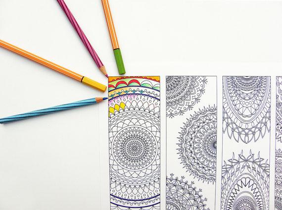 Tribal Bookmarks Coloring Page Abstract Mandala By Kalatirth
