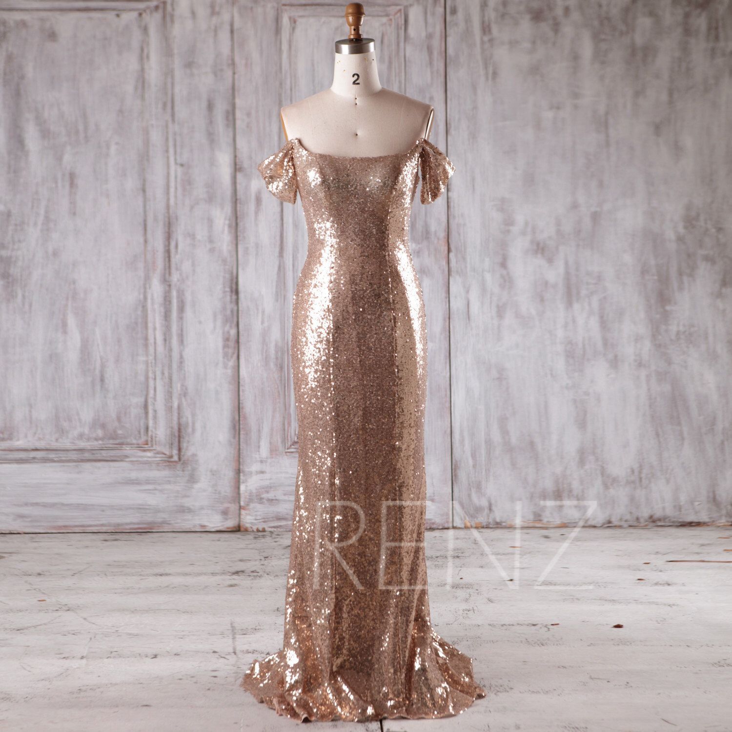 gold sequin bridesmaid dress mermaid off shoulder wedding
