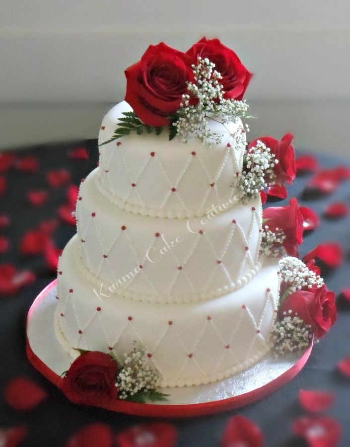 wedding cakes with red and white roses white wedding cake with roses tier white fondant 26095