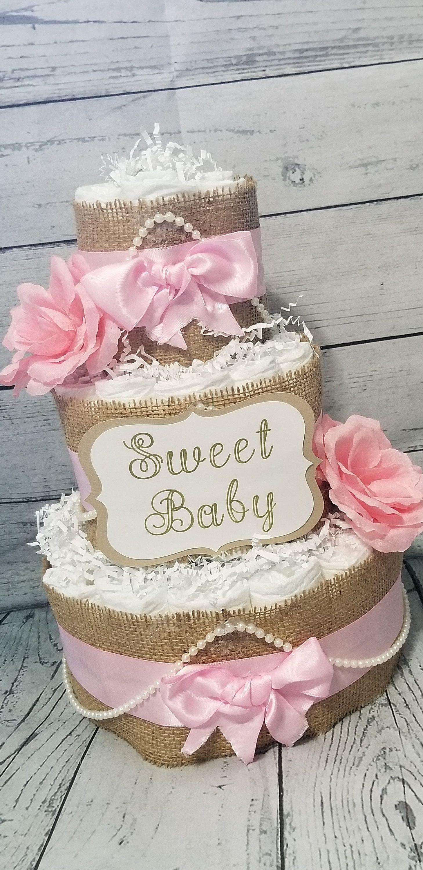 3 Tier Diaper Cake  Shabby Chic Diaper Cake /Blush Pink | Etsy