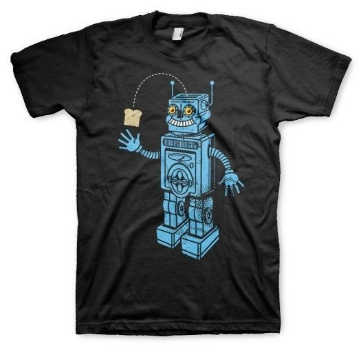 Photo of Toaster Robot T-shirt Black Vintage Inspired Retro Humorous Novelty in Men's S-XL